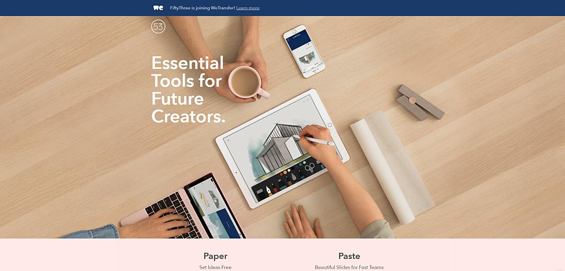 Статьи: Лучший дизайн бизнес-сайтов: топ-7 примеров для вдохновения. Fiftythree Pencil  (источник фото: www.fiftythree.com)