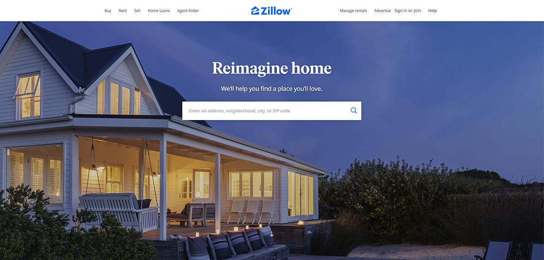 Статьи: Лучший дизайн бизнес-сайтов: топ-7 примеров для вдохновения. Zillow (источник фото: www.zillow.com)