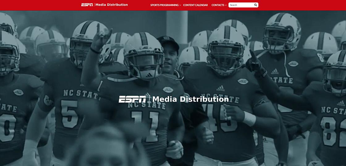 Статьи: Лучший дизайн бизнес-сайтов: топ-7 примеров для вдохновения. ESPN Sports Programming (источник фото: mediadistribution.espn.com)